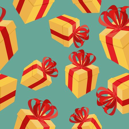 Gift boxes Seamless pattern. background for  holidays: birthdays, Christmas, holiday Vector