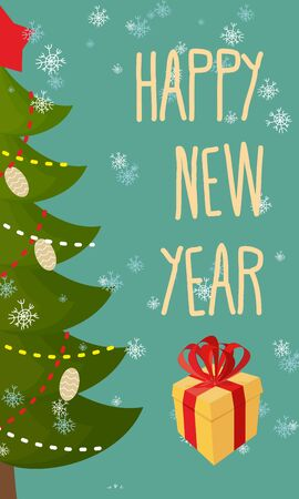Happy new year greeting card. Christmas tree and gift. Vector