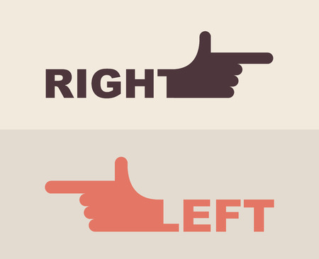 left right: icon  hand. Shows  direction of  right hand, left hand Illustration