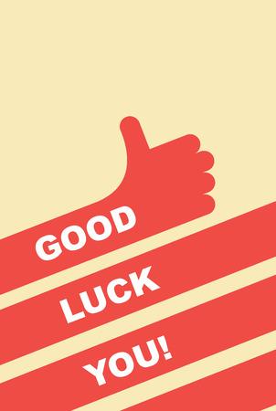 buena suerte: buena suerte. tarjeta de felicitación. Gesto de mano es buena Vectores