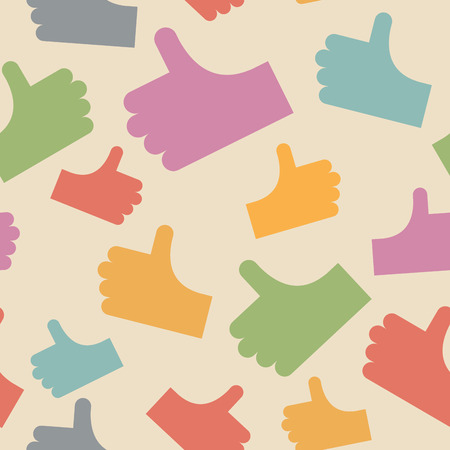 Thumbs up seamless pattern. background hands. Vector illustration Vector