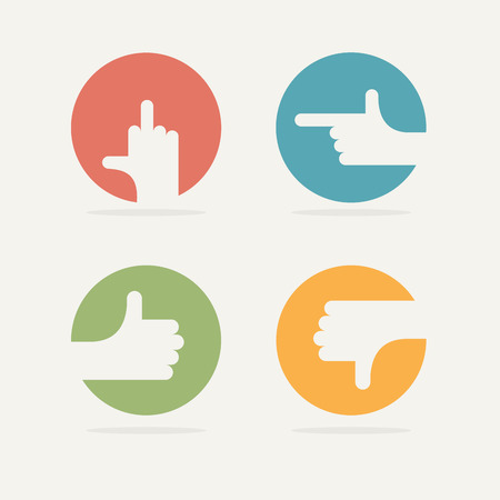 good and bad: Set Icon hand gestures: fuck, good, bad, left. Vector illustration.