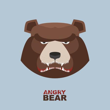 Angry bear head mascot. Bear head for Hockey Club