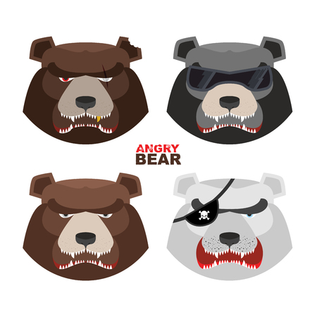 Set angry bears. For and emblem sport club. Bear Vector