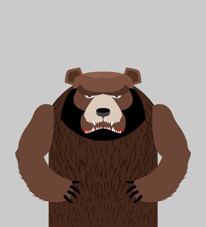 Angry bear standing. Vector illustration Illustration