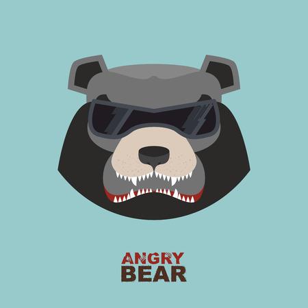 angry bear: Cabeza del oso. Oso enojado Hockey emblema