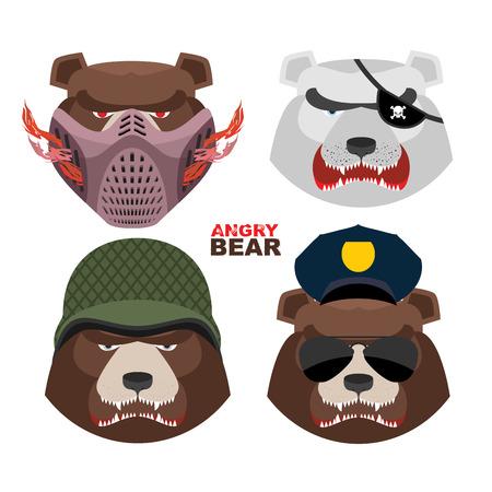 kodiak: Bears set. A masked bear, polar bear, grizzly bear PIRATE in an army helmet, bear police Sun glasses Illustration