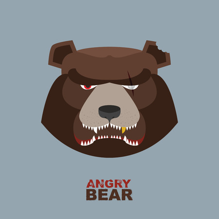 cartoon bear: Angry bear head mascot. Bear head logo for Hockey Club Illustration