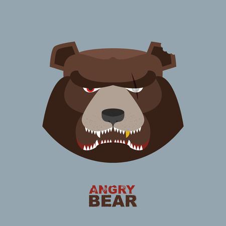 oso negro: Angry mascota cabeza de oso. Logotipo de la cabeza del oso para Hockey Club