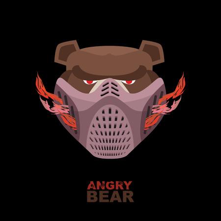 angry bear: Oso enojado en la m�scara. Un animal salvaje feroz Vectores