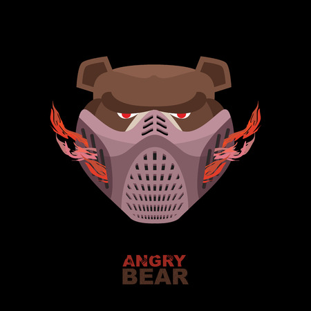 Angry bear in mask. A ferocious wild animal