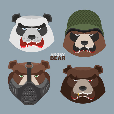 Wild angry bears set. Angry Panda bear in a military helmet, bear with a scar, a bear in a mask Vector