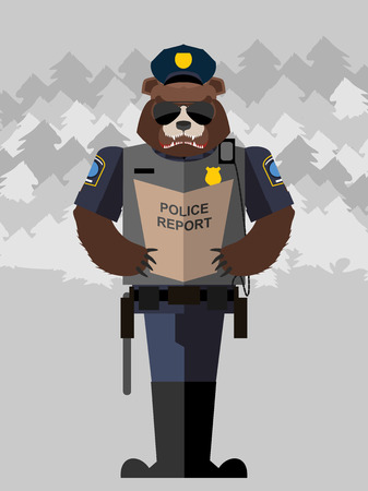 cartoon mascot: Bear police officer.Vector illustration