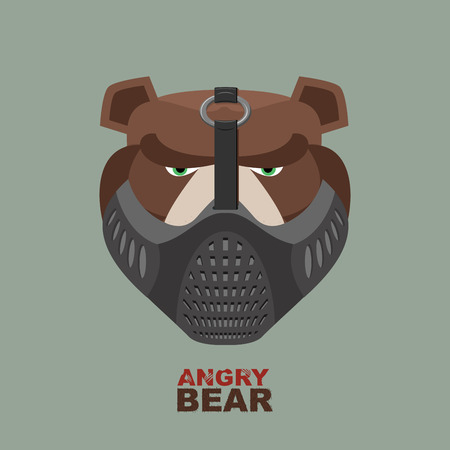 cartoon bear: Angry bear in mask. A ferocious wild animal