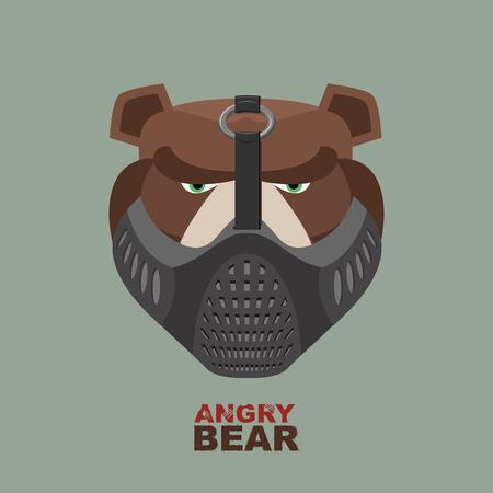 oso negro: Oso enojado en la m�scara. Un animal salvaje feroz Vectores