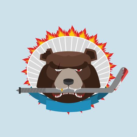 angry bear: Emblema del hockey. Oso enojado. Ilustraci�n vectorial Vectores