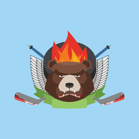 hockey bear emblem. Vector illustration Vector