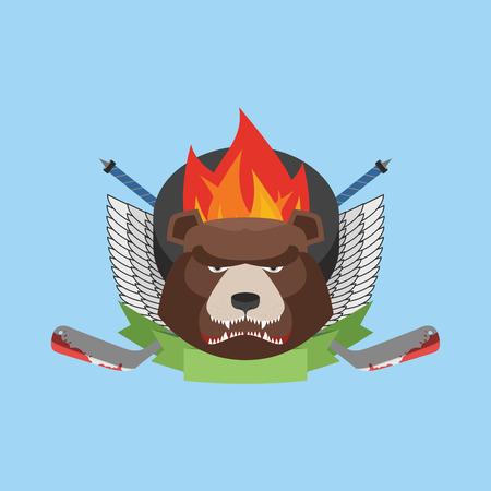hockey bear emblem. Vector illustration Vector