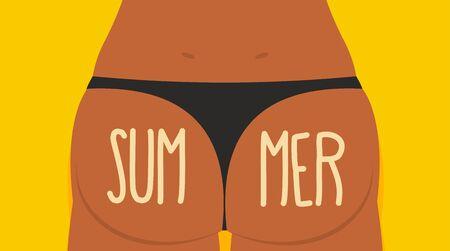 Girl Tan. Ass in panties.  Summer. Vector illustration. Bikini Sexy Girl