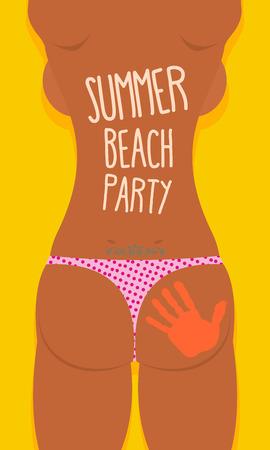 Bikini Sexy Girl tatoo. Summer beach party poster. Vector illustration