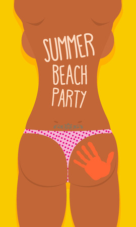 Bikini Sexy Girl tatoo. Summer beach party poster. Vector illustration