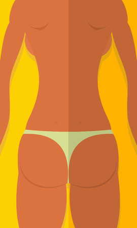 Spin tanned girls. Woman is lying on beach. Summer vector illustration Vector