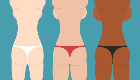 booty: Beautiful girls in bikini. spin and booty. Woman body, vector illustration Illustration