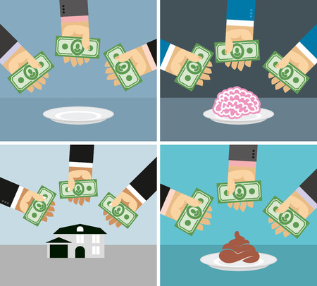 set of money: Set money and hands. Selling and buying a House brains shit. business concepts in flat style for infographics. Vector illustration Illustration
