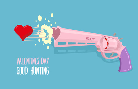 Love gun. Valentines day. Gun shoots at heart. Good hunting. Vector illustration Vector