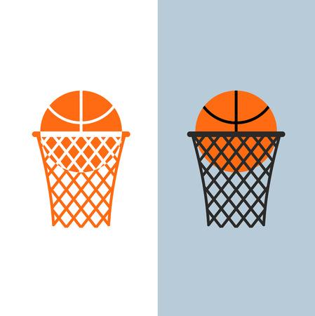 baloncesto: Logotipo del baloncesto. Bola y red de juegos de baloncesto