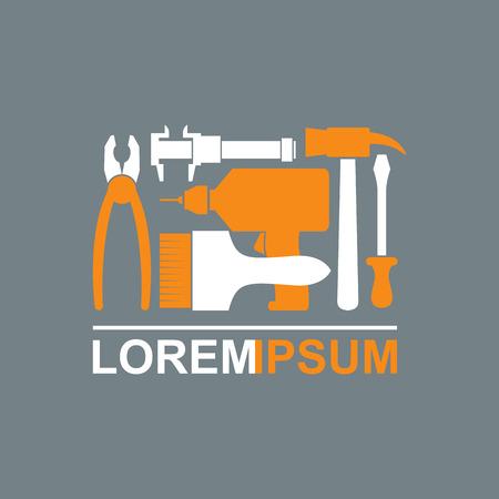 Logo von Bau-Tools. Zimmermannswerkzeuge zu meistern. Zangen Schraubendreher Bohrhammer Bürste. Template konzeptionelle Werkzeugabteilung. Vektor-Illustration