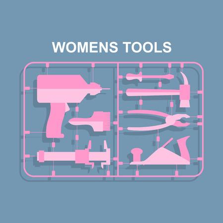 kits: Pink tools. Set for women. plastic model kits for blondes. Vector illustration