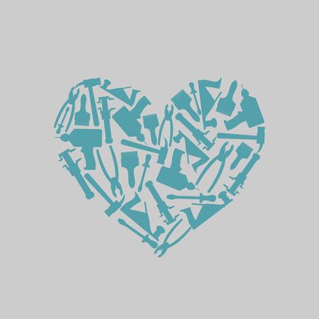herramientas carpinteria: S�mbolo coraz�n de herramientas de carpinter�a. Icono de departamento de la carpinter�a o mastreskoj herramientas. Ilustraci�n vectorial Vectores