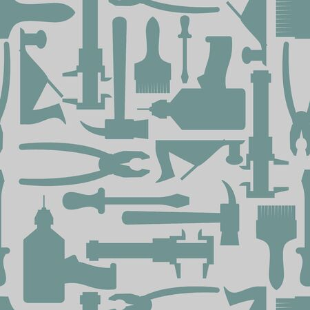 drawed: Seamless Construction Hand tools pattern. Vector illustration