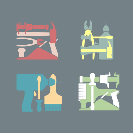 Set illustration Construction tools Vector