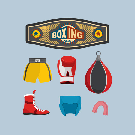 Set Boxing Icons.  Vector