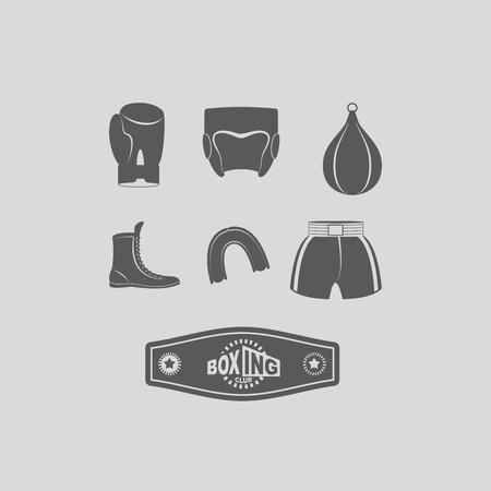 kick boxing: Set icons Boxing kick boxing. Illustration