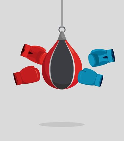 hand glove: Punch bag and gloves. Equipment for boxing. Exercise beats. Vector illustration Illustration