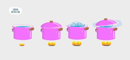 調理プレートを設定します。様々 な料理のための水を沸騰します。ベクトル図