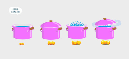 boiling water: Set cooking plates. Boiling water for various dishes. Vector illustration