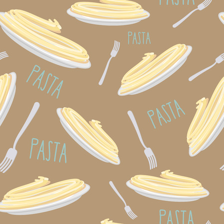 pasta dish: Pasta Seamless pattern. Dish with noodles and fork. Vector illustration
