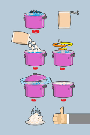 instruction: Cooking dumplings. Vector  instruction in Picture Cooking dumplings
