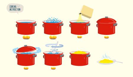 instruction: Set  icons for instruction. Infographics Cooking porridge.