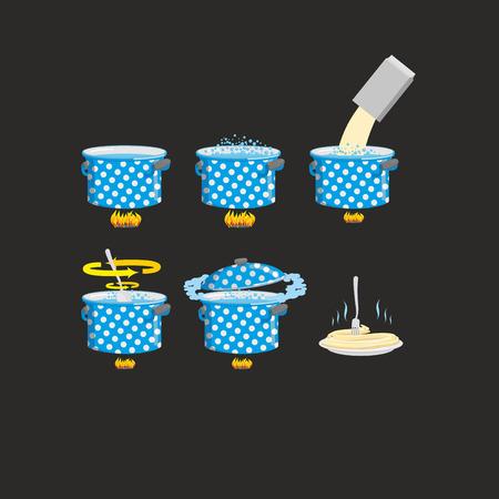 strainer: Icon set cooking pasta recipe. Vector illustration