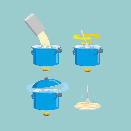 pastas: Icono de conjunto receta de pasta de cocción. Ilustración vectorial Vectores