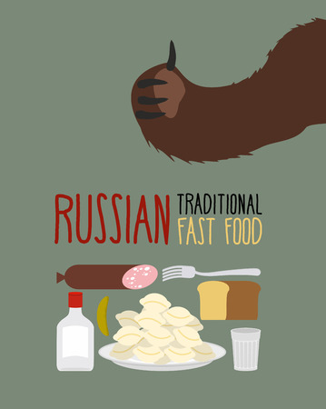 russian food: Russian traditional fast food. Bear approves. Vodka and dumplings Illustration