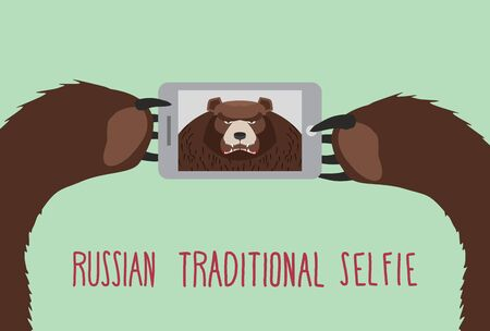 Russian tradition selfie. Bear takes pictures of herself. Vector