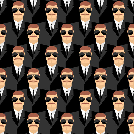 bodyguard: Bodyguard. Seamless pattern of men in glasses. Secret agents. Security service. Vector background of people