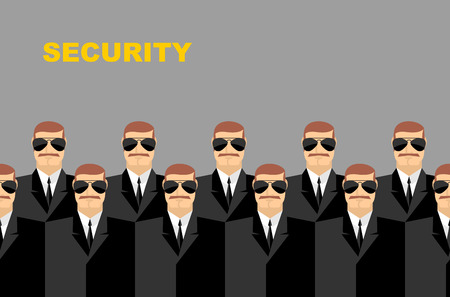 bodyguard: Security Bodyguard. Pattern of men in glasses. Vector background of people Illustration