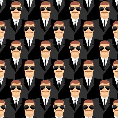 친위대. 안경에 남자의 원활한 패턴입니다. 비밀 요원. 보안 서비스를 제공합니다. 사람들의 벡터 배경